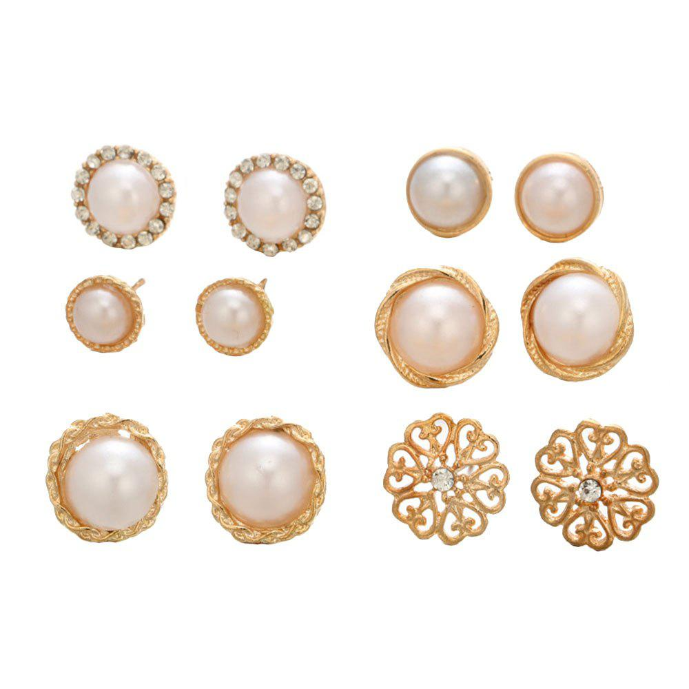 6 Pairs of Round Pearl Drill Ear Studs - GOLD