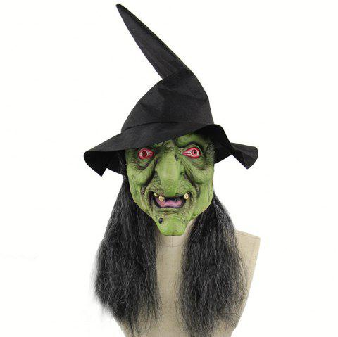 Halloween Mask Horrible Witch Head Latex Costume for Party Prop - GREEN APPLE