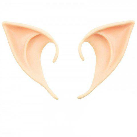 Soft Elf Ears Cosplay Accessories Halloween Party Pointed Prosthetic Tips - DEEP PEACH 9.5 X 5 X 5.5CM