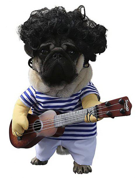 Fancy Guitar Player Pets Costume Cosplay Apparel Party Dress Up Clothing - DODGER BLUE