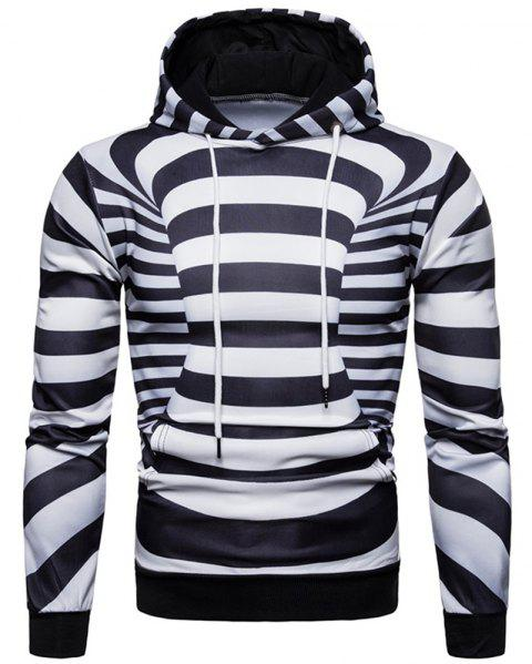 Men's Trend Black and White Striped 3D Personalized Print Casual Hooded Sweater - BLACK M