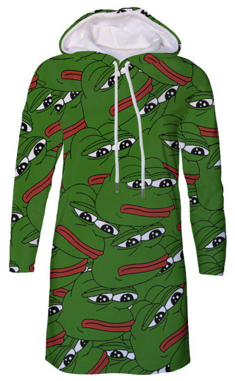 Fashion Cartoon Frog Print Plus Size Women's Hooded Dress - DEEP GREEN 5XL