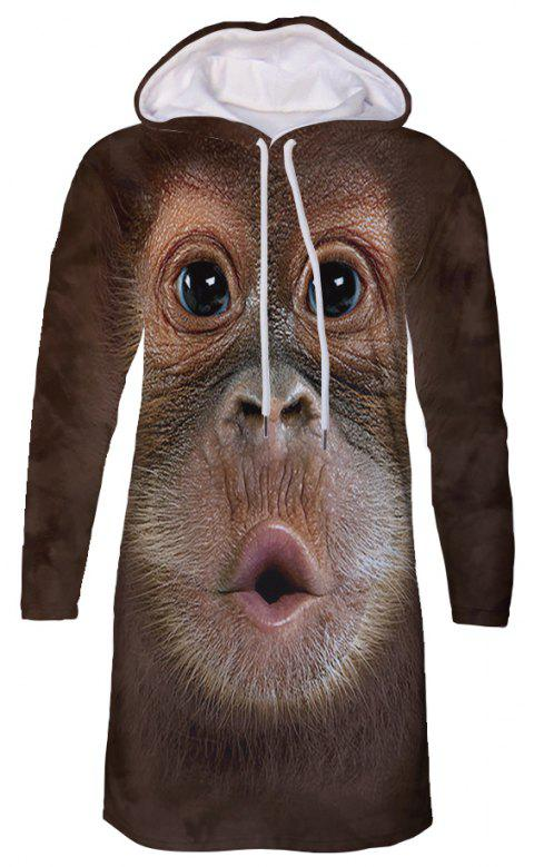 Casual 3D Monkey Print Large Size Women's Hooded Dress - multicolor 3XL