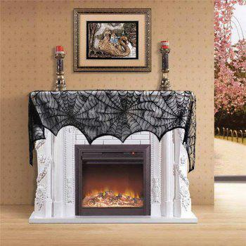 Halloween Decoration Black Lace Spiderweb Fireplace Mantle Scarf Cover - BLACK