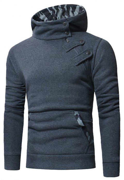 Men's  Court Buckle Slim Fit Hooded Casual Sweatshirt - DARK GRAY L