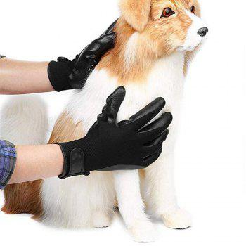 Pet Dog Cat Horse Cleaner Gants Toilettage Brosse Cheveux Remover Massage - Noir