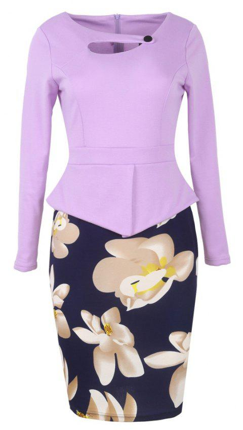 Women's Long Sleeve Print Patchwork One Button Hollow Peplum Office Pencil Dress - MAUVE 5XL