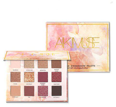 Aikimuse Glitter Matte Eyeshadow Make Up Palette Pigmented Waterproof 12 Colors - 001