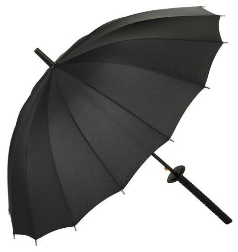 Black Katana Straight Handle Umbrella - BLACK 24 RIBS