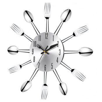 Creative Kitchen Restaurant Cutlery Clock - SILVER