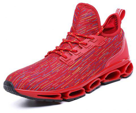 Men Stylish Colorful Fly-Knit All Match Casual Sneakers - RED EU 42