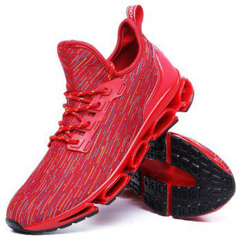 Men Stylish Colorful Fly-Knit All Match Casual Sneakers - RED EU 44