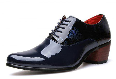 New Business Patent Casual British Leather Shoes Tide - MIDNIGHT BLUE EU 38