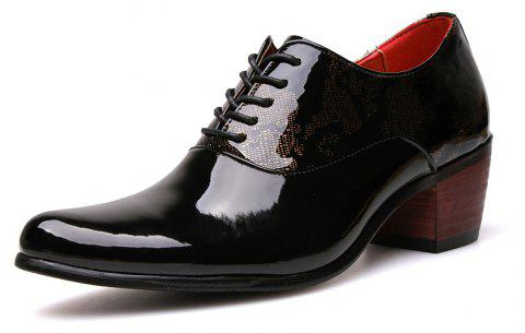 New Business Patent Casual British Leather Shoes Tide - BLACK EU 44