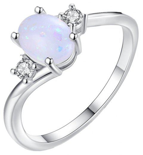 Oval Cut Opal Diamond Ring Birthday Gift - WHITE US 9