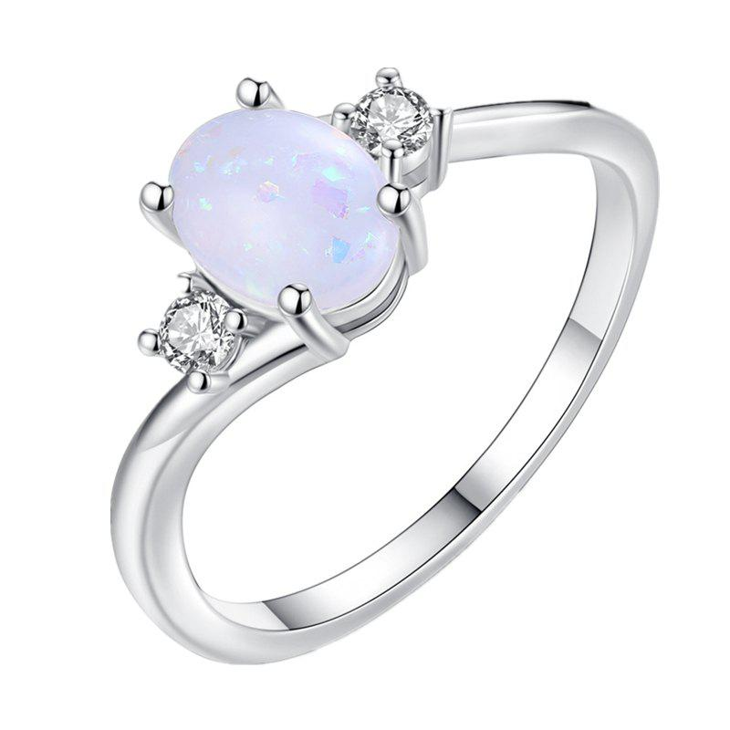 Oval Cut Opal Diamond Ring Birthday Gift - WHITE US 7