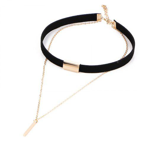 Vintage Minimalist Leather Double Vertical Bar Necklace - BLACK