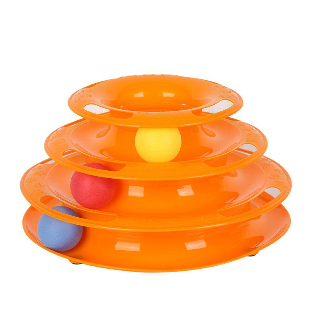 Jouet de plaque d'attractions interactif pour chat Crazy Ball Disk - Orange
