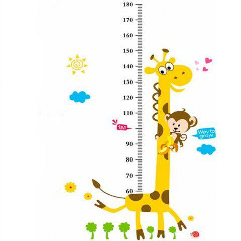 Giraffe Height Ruler Cartoon Removable Wall Sticker - multicolor