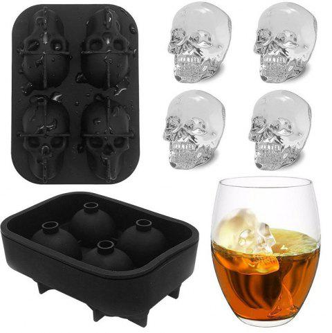3D Skull Silicone Mold Cool Ice Cube Tray Maker Home Kitchen DIY Mould Tools - BLACK