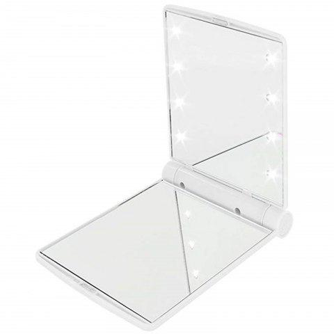Makeup Mirrors Cosmetic Hand Folding Portable Compact Pocket 8 LED Lights Lamps - WHITE