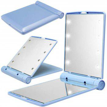 Makeup Mirrors Cosmetic Hand Folding Portable Compact Pocket 8 LED Lights Lamps - CRYSTAL BLUE