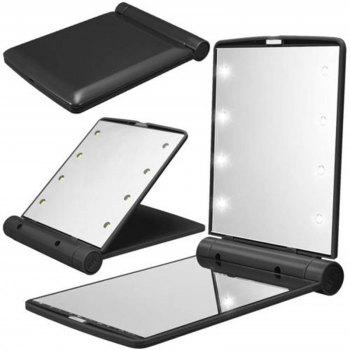 Makeup Mirrors Cosmetic Hand Folding Portable Compact Pocket 8 LED Lights Lamps - BLACK