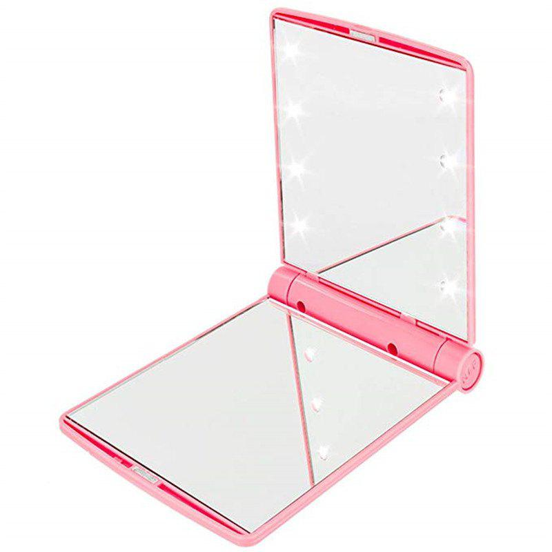 Makeup Mirrors Cosmetic Hand Folding Portable Compact Pocket 8 LED Lights Lamps - PINK