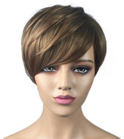 Fashionable Partial Distribution Type Gradient Ramp Straight Short Wig - DARK GOLDENROD