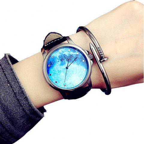 Vintage Casual New Design Creative Leather Analog Chronograph Sport Watch - SILK BLUE