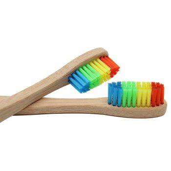 4PCS Environmentally Bamboo Charcoal Infused Toothbrush with Soft Nylon Bristles - multicolor