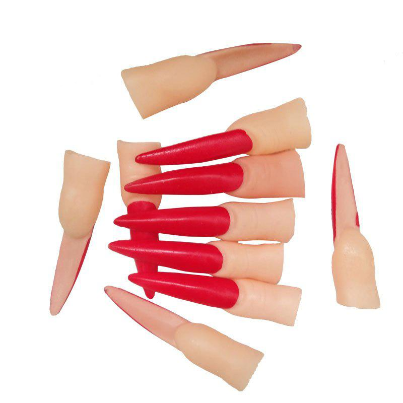 10pcs halloween tricky prop jouet mascarade simulation ongles fantômes - Rouge
