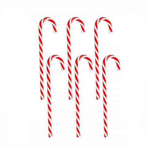 6PCS Candy Cane Hanging Christmas Ornament - VALENTINE RED