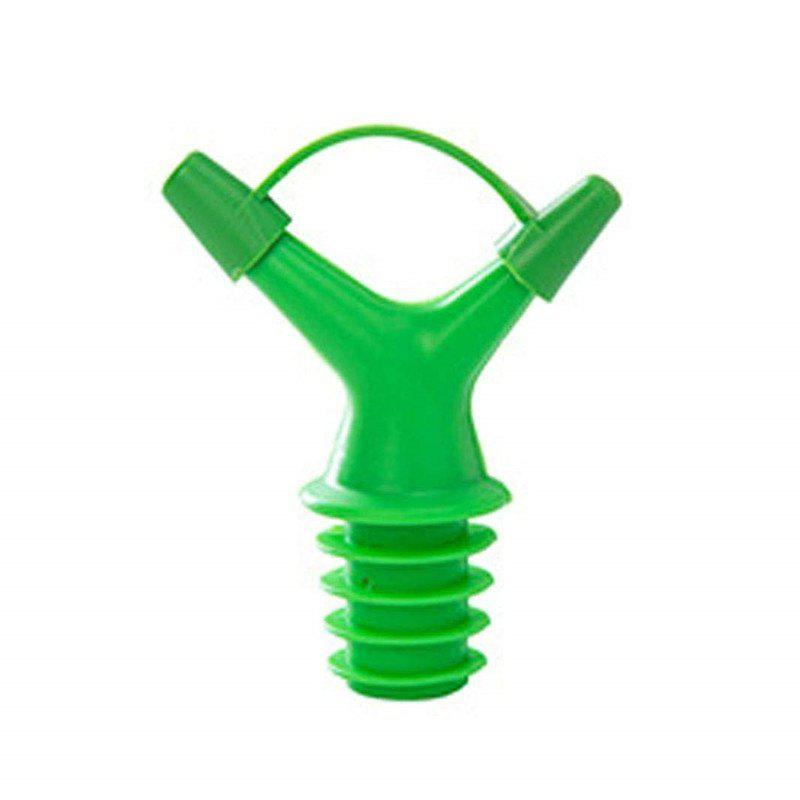 Double Head Bottle Mouth Stopper Oil with Cap - GREEN