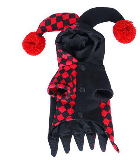 Funny Pet Hooded Clown Costume for Small Dogs Cats Halloween Party Cosplay - multicolor