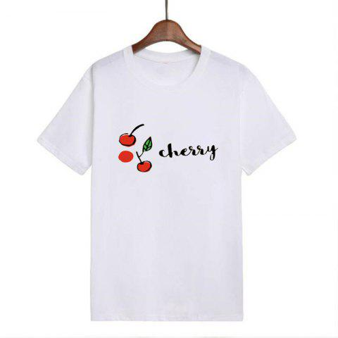 Fashion Women Loose Casual Cherry Letter Print T-shirt - COOL WHITE S