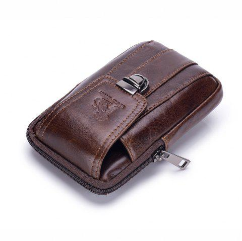 Men's Multi-function Leather Front Pocket Design Small Waist Crossbody Bag - COFFEE