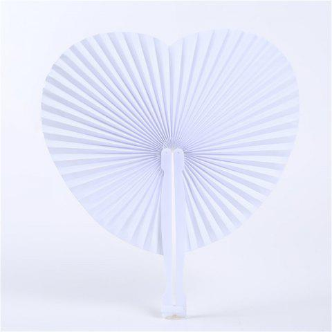 New White Love Paper Fan Fournitures de mariage - Blanc