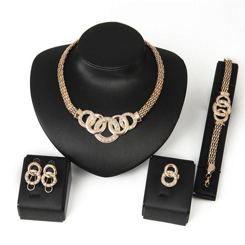High-Quality Explosion Necklace Earrings Bracelet Ring  Jewelry  Set - multicolor