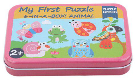 Cartoon Cards for Children Jigsaw Metal Iron Box 3D Wood Puzzle - multicolor D