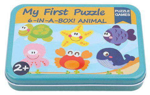 Cartoon Cards for Children Jigsaw Metal Iron Box 3D Wood Puzzle - multicolor B