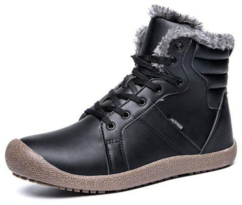 Winter Casual Warm Leather Snow Boots For Men - BLACK EU 48