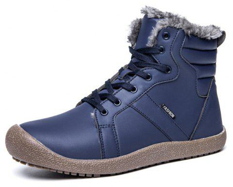 Winter Casual Warm Leather Snow Boots For Men - DEEP BLUE EU 42