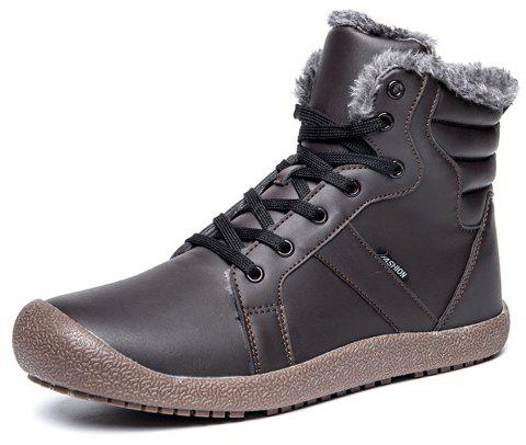 Winter Casual Warm Leather Snow Boots For Men - DEEP COFFEE EU 43