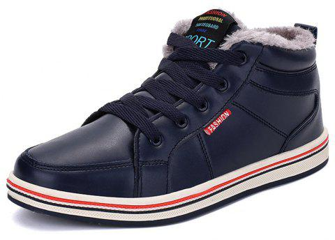 Men's Casual Warm Leather Snow Boots - DEEP BLUE EU 48