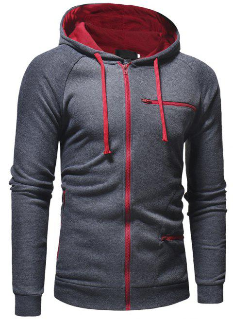 Men's Fashion Casual Slim Solid Color Hooded Sweater - GRAY 3XL