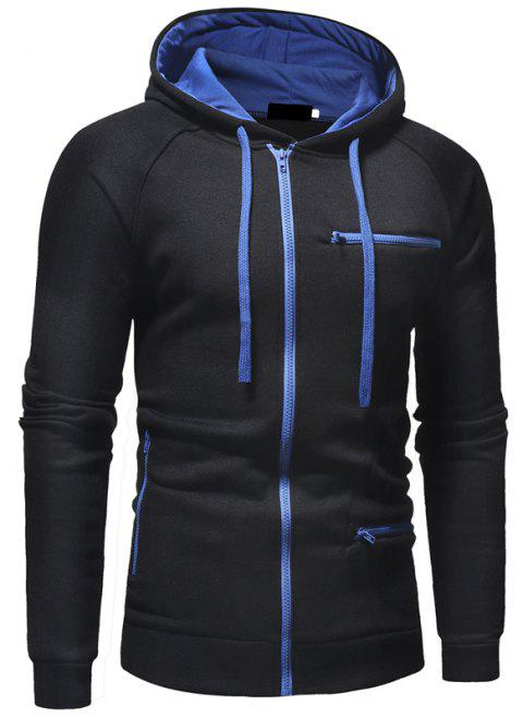 Men's Fashion Casual Slim Solid Color Hooded Sweater - BLACK L