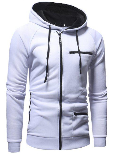 Men's Fashion Casual Slim Solid Color Hooded Sweater - WHITE M