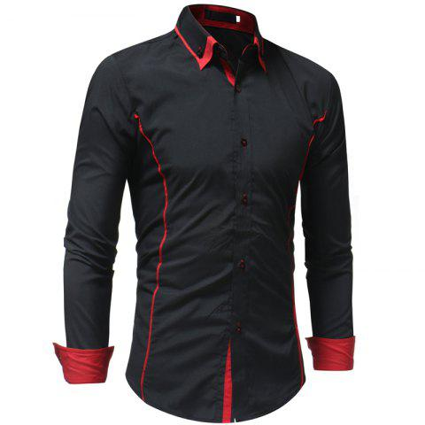 Men's Casual Fashion Slim Long Sleeve Shirt - RED 3XL