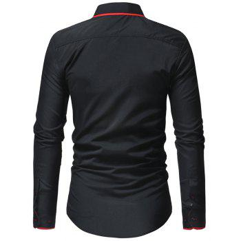 Men's Casual Fashion Slim Long Sleeve Shirt - RED XL